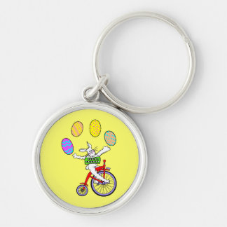 Circus Bunny Silver-Colored Round Keychain