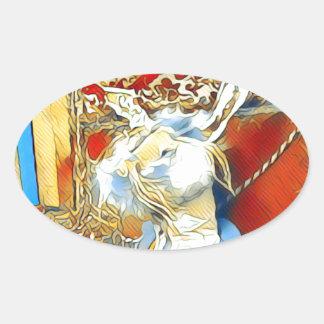 Circus Bunny Oval Sticker