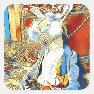Circus Bunny Square Sticker