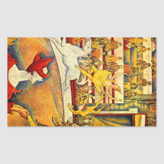 Circus by Georges Seurat Rectangle Stickers