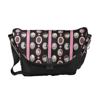 Circus Cameo messenger bag retro pink and black