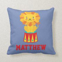 Circus Carnival Animal Lion Cat Kitty Throw Pillow