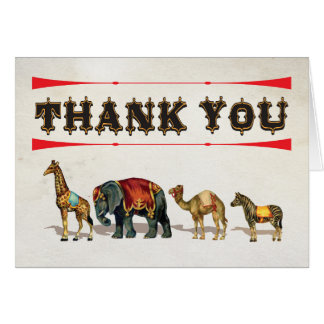Circus Carnival Animals Thank you note cards