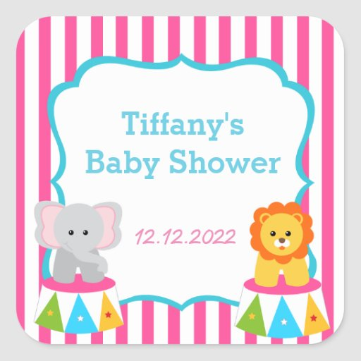 circus carnival baby shower favor stickers zazzle