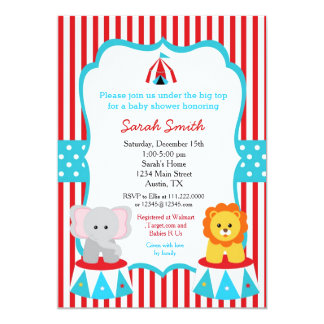 Circus Carnival Baby Shower Invitations