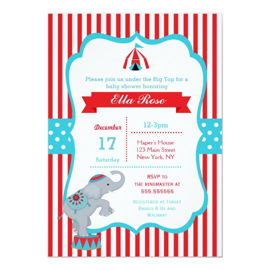 circus carnival big top baby shower invitations zazzle