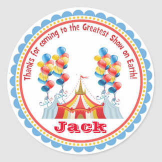 Circus Carnival Big Top Birthday Favor Stickers