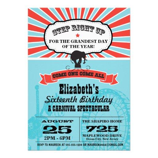Circus Carnival Birthday Personalized Invites