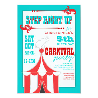 Circus Carnival Birthday Party Big Top  Invitation