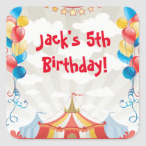 Circus Carnival Birthday Party Favor Stickers