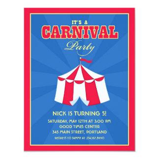 "Circus / Carnival Birthday Party Invitation 4.25"" X 5.5"" Invitation Card"