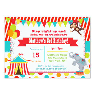 Circus Birthday Invitations Announcements Zazzle