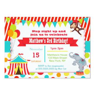Circus Carnival Birthday Party Invitations