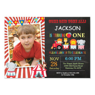 Circus Carnival Birthday Party Photo Invitation