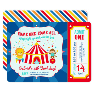 Circus Carnival Birthday Party Ticket Card
