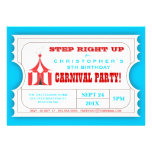 Circus Carnival Birthday Party Ticket Invitation