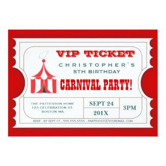 "Circus Carnival Birthday Party Ticket Invitation 5"" X 7"" Invitation Card"