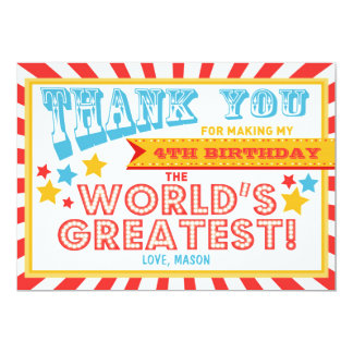 Circus Carnival Birthday Thank you card Big Top