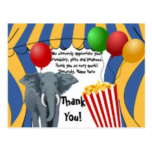 Circus Carnival Birthday/Thank You Post Card