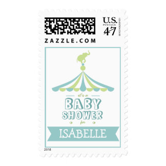 Circus Carnival Blue Green Baby Shower Postage