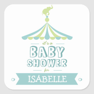 Circus Carnival Blue Green Baby Shower Sticker