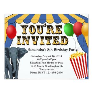 "Circus Carnival Cheer Custom Invitations 4.25"" X 5.5"" Invitation Card"