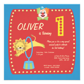 Circus Carnival Clown First (1st) Birthday Party Custom Invitations