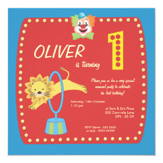 Circus Carnival Clown First (1st) Birthday Party Invitation