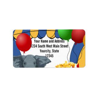 Circus Carnival Custom Birthday Address Label