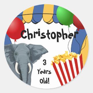 Circus Carnival Custom Birthday Classic Round Sticker