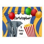 Circus Carnival Custom Birthday Postcards