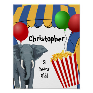Circus Carnival Custom Birthday Posters