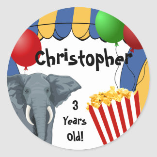 Circus Carnival Custom Birthday Round Stickers