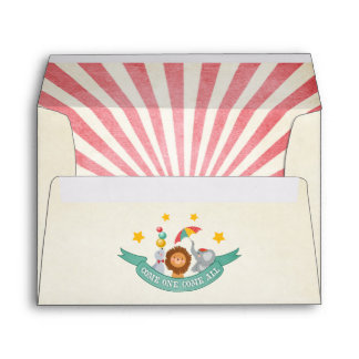 Circus Carnival Envelope Birthday Vintage