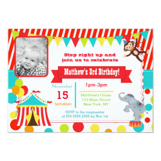 Circus Carnival Photo Birthday Party Invitations