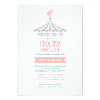 """Circus Carnival Pink Teal Baby Shower Invitation 5"""" X 7"""" Invitation Card"""