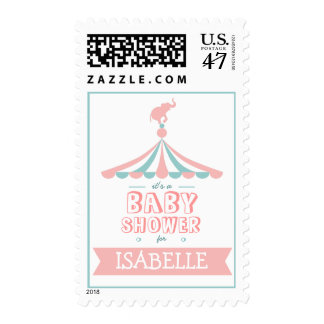 Circus Carnival Pink Teal Baby Shower Postage