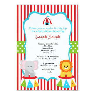 """Circus Carnival Shower Invitations 5"""" X 7"""" Invitation Card"""