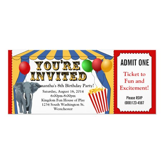 Circus Carnival Ticket Custom Invitations Zazzle Com