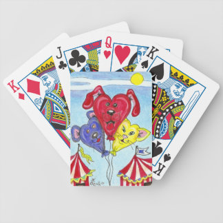 Circus Cat, Dog, Mouse Cartoon Balloon Art Bicycle Playing Cards