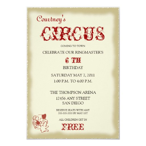 Circus Childrens Birthday Party Invitation