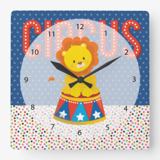 Circus * choose background color square wall clock