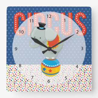 Circus * choose background color square wall clocks