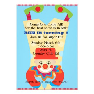 personalized kids party invitations and favors clown upside down