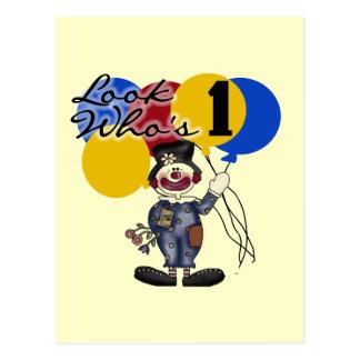 Circus Clown 1st Birthday Tshirts and Gifts Postcard