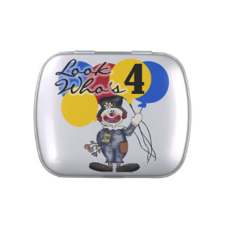 Circus Clown 4th Birthday Candy Tins and Jars