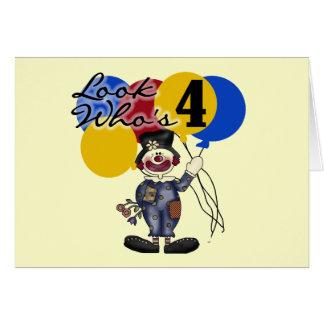 Circus Clown 4th Birthday Tshirts and Gifts Card