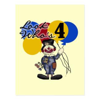 Circus Clown 4th Birthday Tshirts and Gifts Postcard