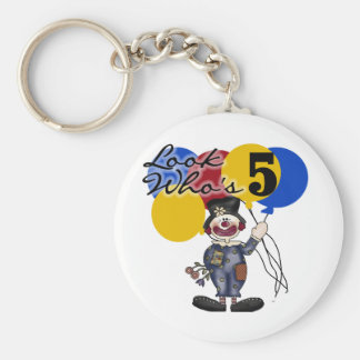 Circus Clown 5th Birthday Tshirts and Gifts Basic Round Button Keychain