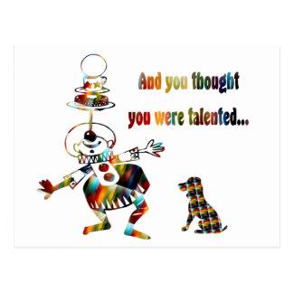 Circus Clown and His Dog Postcard